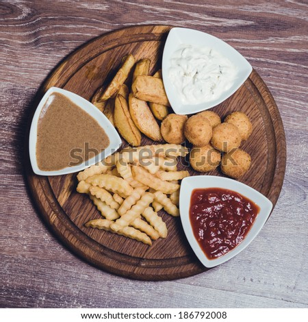 snack platter with dips - stock photo
