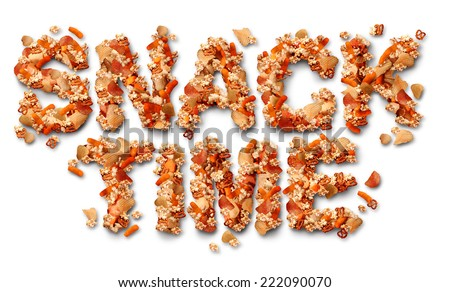 Snack time concept with a group of salty party snacks shaped as letters as a symbol of fatty food treats for watching TV or sports events as a delicious addictive choice but unhealthy option. - stock photo