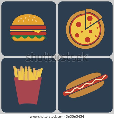 Snacks icon set. Cheeseburger with salad leaves, ham and sesame seeds. Pizza slice. French Fries Packet. Hot Dog. Fast food Digital raster flat illustration
