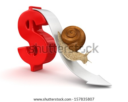 Snail  and Dollar (clipping path included)