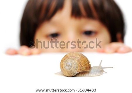 Snail and kid - stock photo