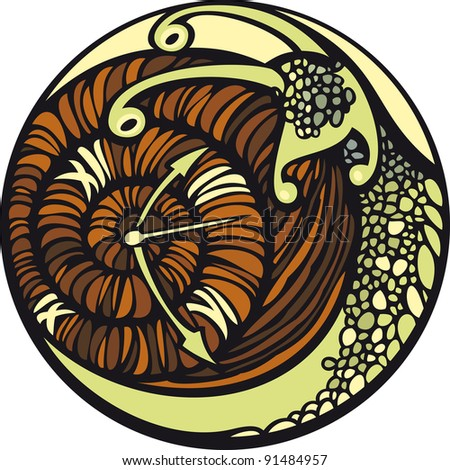 Snail and the time. Snail moves so slowly... And it seems, that time is stopped. - stock photo