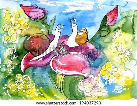 snail, summer,cochlea  - stock photo