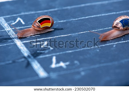 snails race metaphor about Germany against Europe - stock photo