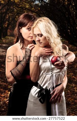Snake and Eva concept - stock photo
