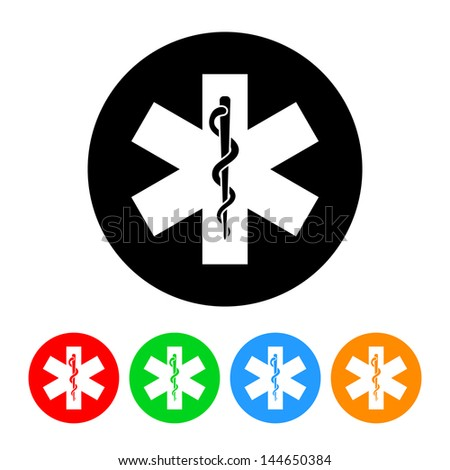 Snake and Staff Medical Icon with Color Variations.  Raster version, vector also available. - stock photo