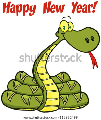 Snake Cartoon Character With Text. Raster Illustration.Vector version also available in portfolio.