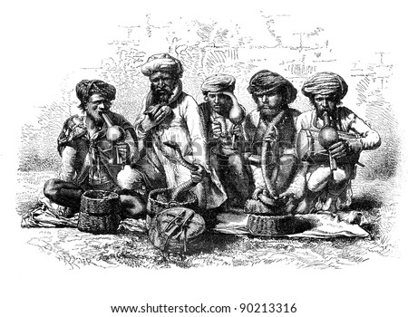 Snake charmers of India. - Drawing Sellier, vintage engraved illustration. Magasin Pittoresque 1875. - stock photo