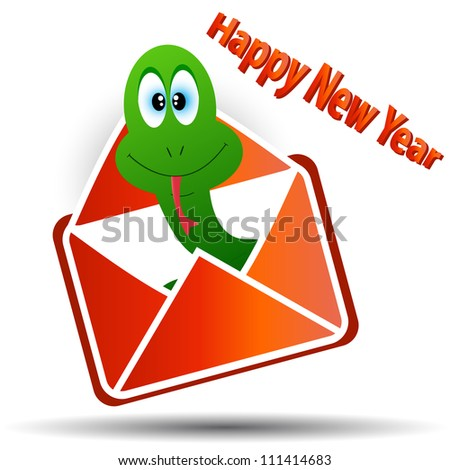 Snake in an envelope with a congratulation of happy new year