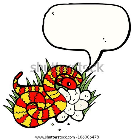 snake in nest illustration - stock photo