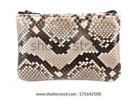 Snake leather purse isolated on white - stock photo