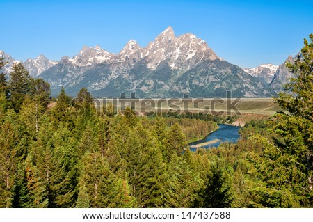 Snake River Overlook in Grand Teton National Park, Wyoming. - stock photo