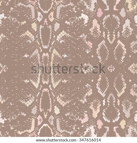Snake skin texture. Seamless pattern beige brown background.  - stock photo