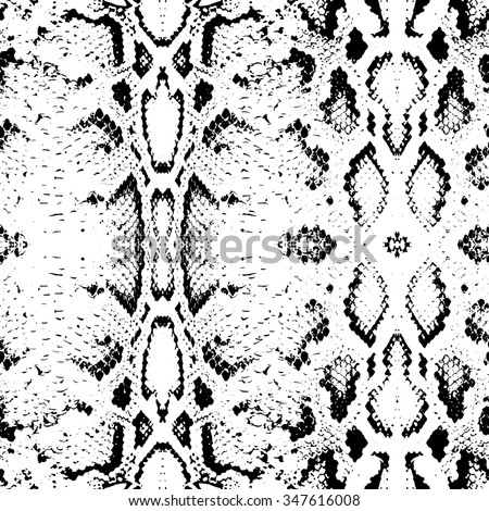 Snake skin texture. Seamless pattern black on white background.  - stock photo