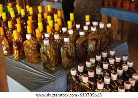 snake wine - brand names were removed