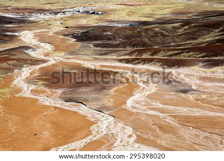 Snaking River at Petrified Forest National Park - stock photo