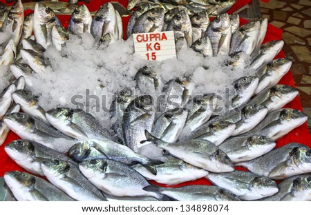 Snapper fish in ice on a market stall in Istanbul, Turkey - stock photo
