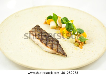 Snapper Steak with salad - stock photo