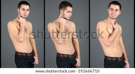 Snapshot of model. Handsome man on grey background - stock photo