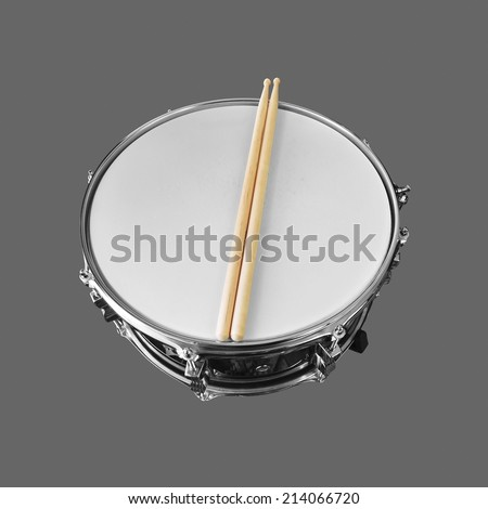 snare drum isolated on gray background - stock photo