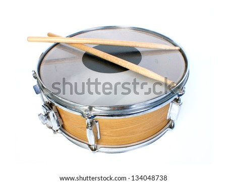 snare drum isolated on white - stock photo