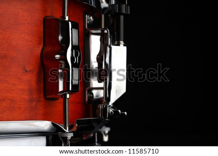 snare drum on black - stock photo