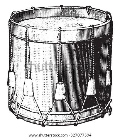 Snare drum strings, vintage engraved illustration. Industrial encyclopedia E.-O. Lami - 1875. - stock photo