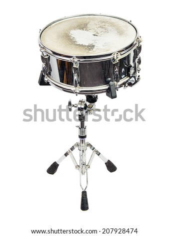 snare-drum,tamburo on stand on white background - stock photo