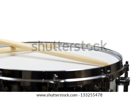 Snare drum with a pair sticks, isolated over white - stock photo