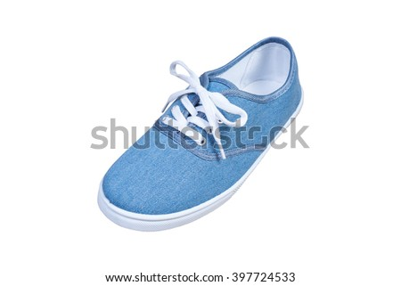 sneaker, blue color isolated background