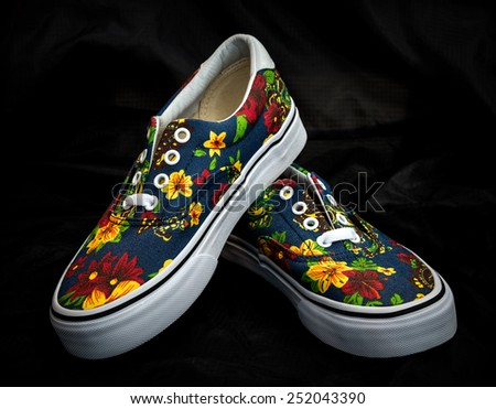 sneaker shoe as flower design - stock photo