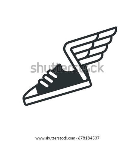 Sneaker with wings icon, minimal sports shoe line logo.