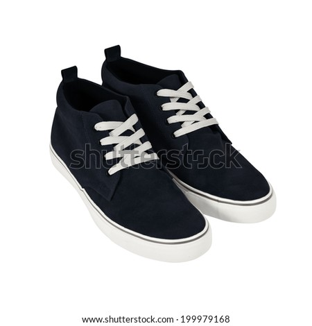 Sneakers. Casual style shoes isolated on white - stock photo