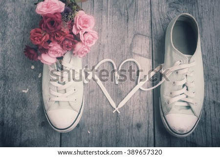 Sneakers couple with love heart