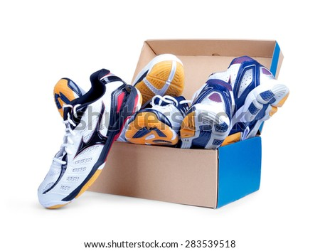 sneakers in shoe cardboard box isolated on white background - stock photo