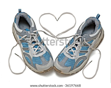 Sneakers isolated on white background - stock photo