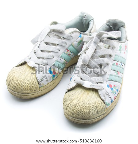 Sneakers isolated on white backgroundม sport shoe side view on white.