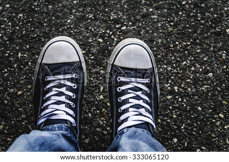Sneakers, top view. The trend shoes. - stock photo