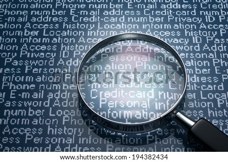 Sneaking a look at personal information. Magnifier and personal information.  - stock photo
