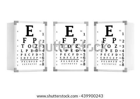Snellen Eye Chart Test Boxes on a white background. 3d Rendering