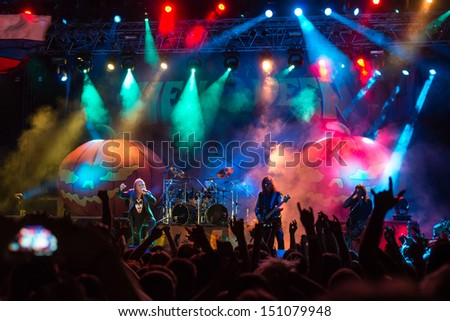 SNINA, SLOVAKIA - AUGUST 10: German power metal band Helloween performs on music festival Rock pod Kamenom in Snina, Slovakia on August 10, 2013 - stock photo