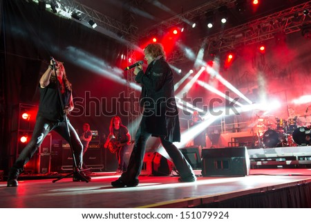 SNINA, SLOVAKIA - AUGUST 8: Ronnie Atkins and Tobias Sammet perform with Avantasia project on music festival Rock pod Kamenom in Snina, Slovakia on August 8, 2013