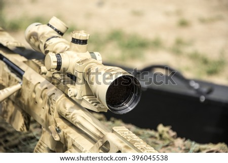 Sniper Rifle close - stock photo