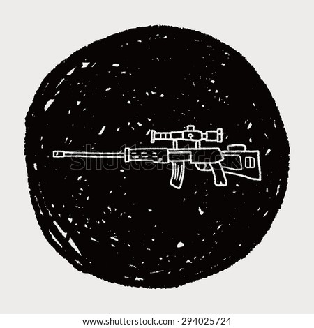 Sniper rifle doodle - stock photo