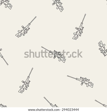 Sniper rifle doodle seamless pattern background - stock photo