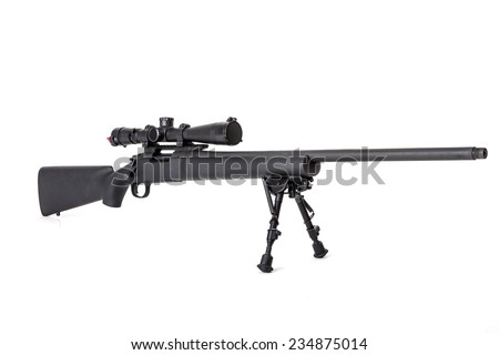 Sniper rifle on bipod isolated on white background - stock photo