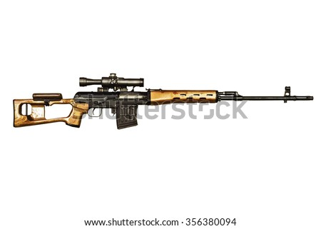 sniper rifle SVD on the white backgtound - stock photo