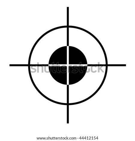 Sniper rifle target cross hairs silhouetted on white  background. - stock photo