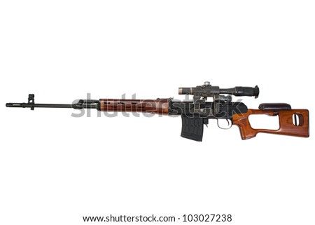 sniper rifle with optic sight - stock photo