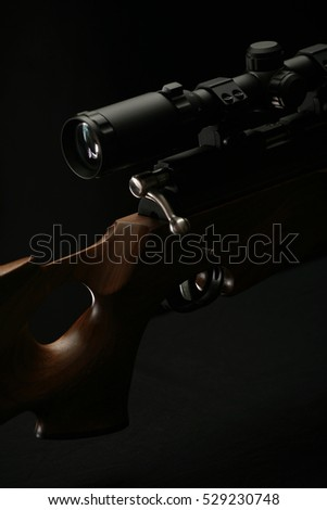 Sniper rifle with wooden handle and scope